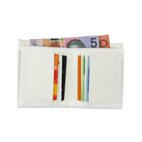 Photo of Sublimation Blank Velcro Closure Canvas Fabric Wallet shown open with cards and money inside