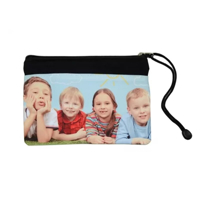 Photo showing printed sample of 19cm x 13cm zip up Sublimation Stationery Bag